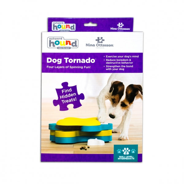 The Dog Tornado puzzle helps reduce destructive behavior and fights boredom by keeping your dog busy exercising their mind. Puzzle has 3 tiers and twelve hidden food compartments that encourage your dog to spin the tiers to reveal compartments.