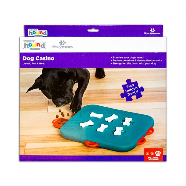 The Dog Casino puzzle helps reduce destructive behavior and fights boredom by keeping your dog busy exercising their mind. Puzzle has 6 treat drawers that encourage your dog to paw, nose, and nudge to access the treats. Lock the bones on the top of the puzzle to increase the difficulty level.