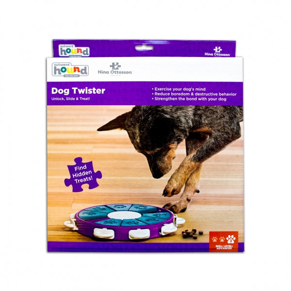 The Dog Twister puzzle features 9 treat compartments, 8 blocks that slide to cover the compartments, and 9 locking tabs. Your dog will enjoy pawing, sniffing, and nudging the blocks around to reveal the hidden treats. Push the tabs in to lock the blocks in place to increase the difficulty level of the puzzle.
