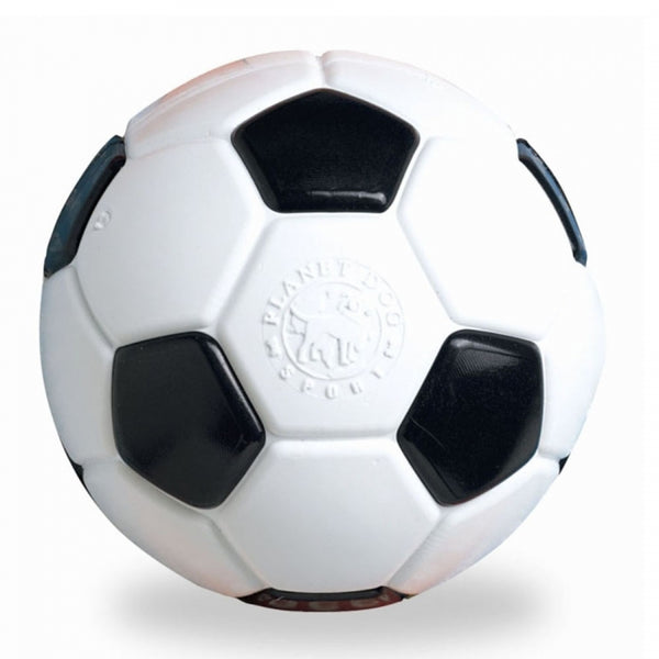 Your dog is sure to score the winning goal with this best-selling soccer ball made from the award-winning Orbee-Tuff material, which is 100% recyclable and non-toxic. Ball is durable, bouncy, buoyant, and perfect for tossing, fetching, and bouncing. Excellent sized ball for large breed dogs.