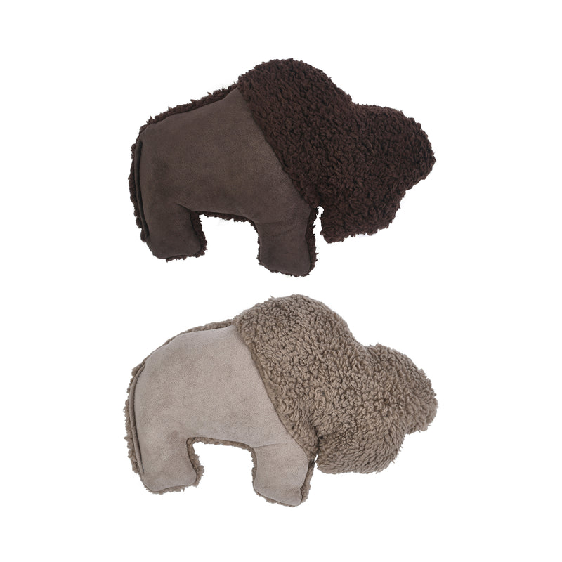 Big Sky Bison is sure to delight any dog with its attention-grabbing squeaker and eye-catching colors. Toy is made from faux suede, plush fleece fabric, and stuffed with 100% eco-friendly IntelliLoft fill that is made from recycled plastic bottles.