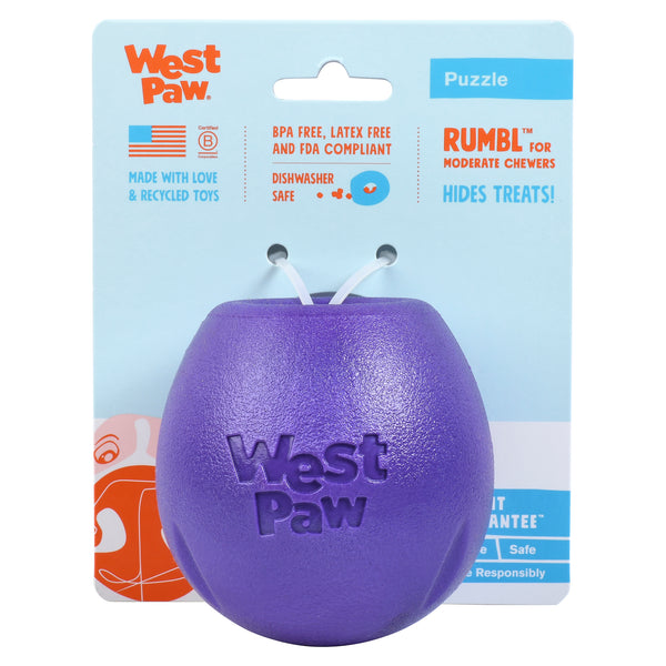 "Rumbl is a super bouncy and crazy fun treat-dispensing puzzle toy with a playful wobble that adds excitement and increases engagement. Toy floats and dogs love the chewy resistance of the hollow construction. The unique ""fish trap"" opening makes for easy loading, yet keeps treats inside."