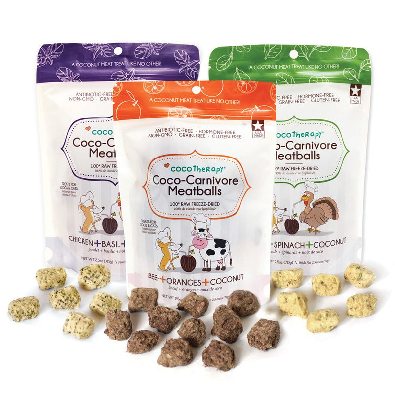 All the benefits of coconut, fruits, veggies, meat, and spices all rolled into a meatball treat your dog will love! Treats are made in the USA from 100% human-grade ingredients that are hormone-free, antibiotic-free, humanely-raised, and sourced from USA farmers. NO fillers or by-products.