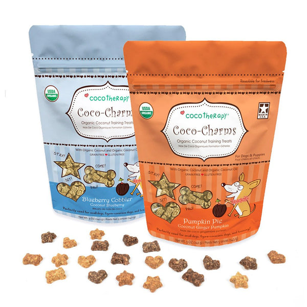 CocoTherapy Coco-Charms are only 1 calorie per treat. They are perfectly sized for small dogs or training purposes. Coco-Charms do not contain dairy, eggs, or grains, which make them perfect for pets on a limited ingredient diet or those with allergies or sensitive tummies.