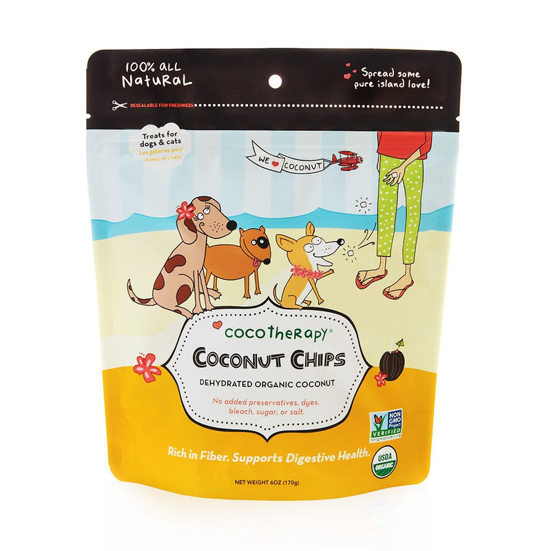 CocoTherapy Coconut Chips are an excellent source of dietary fiber for your pets. A perfect snack for pets on a limited ingredient diet or those with allergies or sensitive tummies. Give as a treat throughout the day or mix in with food as a fiber supplement.