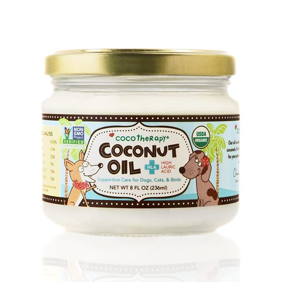 CocoTherapy coconut oil is 100% pure, virgin cold-pressed, and USDA organic. It is made from the purest and freshest organically grown coconuts. Coconut oil can help reduce overall inflammation, improve gastrointestinal issues, allergies, skin/coat condition, oral, and joint health in your pets.