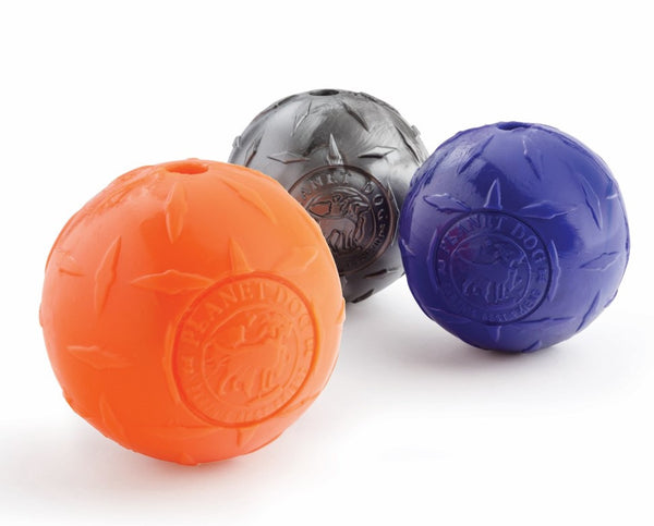 The Diamond Plate ball is made from the award-winning Orbee-Tuff material, which is 100% recyclable and non-toxic. This textured toy is rough and rugged, making it ideal for chewers. Toy is durable, bouncy, buoyant, and perfect for tossing, fetching, and bouncing. Toy is infused with natural mint oil.