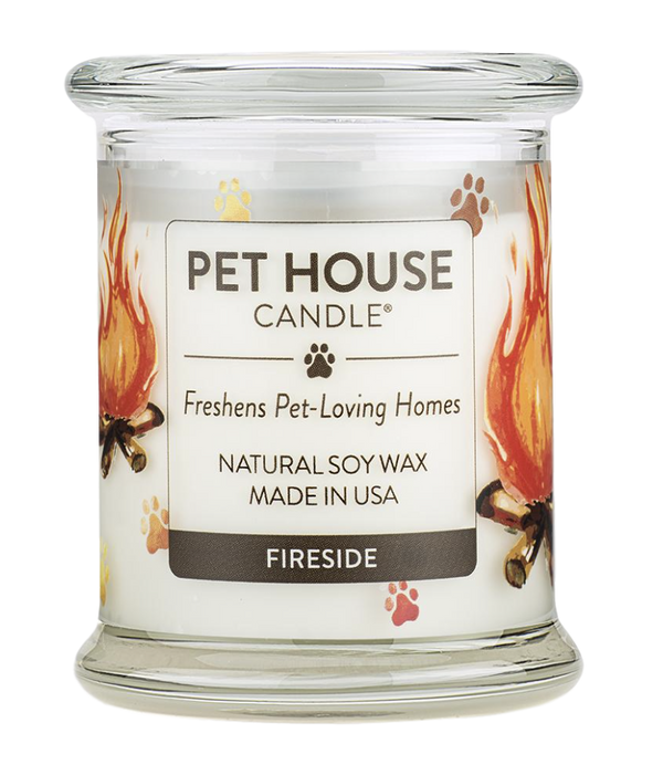 Pet House candles are hand-poured, and made from 100% natural, dye-free soy wax. Comes in an 8.5 oz. glass jar. Fragrance profile is a warm and cozy blend of sandalwood, patchouli, clove, cinnamon, and bay.