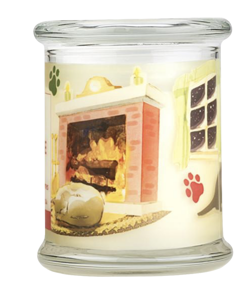 Pet House candles are hand-poured, and made from 100% natural, dye-free soy wax. Comes in an 8.5 oz. glass jar. Fragrance profile is a traditional holiday scent, including fir needles, cinnamon, cloves, and nutmeg.