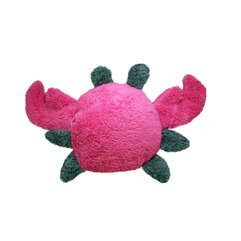 The Duraplush Crab dog toy is an absolute dream at comforting puppies. The pillow shape is great to rest a sleepy puppy head and the claws are perfect for gnawing on while teething.  This durable and soft dog toy is eco-friendly and made in the USA. It features a Duraplush 2-ply bonded outer material, Stitchguard internal seams, and eco-fill recycled filling.