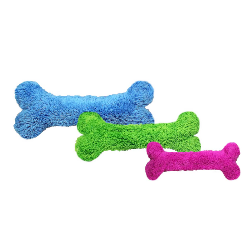 Duraplush Bones are the perfect shape and size for dogs who like to carry toys around in their mouth. This durable and soft dog toy is eco-friendly and made in the USA. It features a Duraplush 2-ply bonded outer material, Stitchguard internal seams, and eco-fill recycled filling.