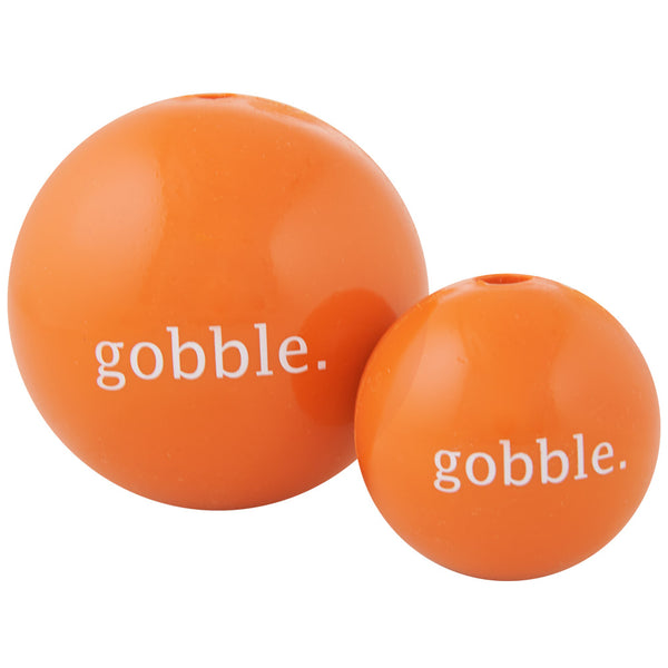 Gobble ball is made from the award-winning Orbee-Tuff material, which is 100% recyclable and non-toxic. Ball is durable, bouncy, buoyant, and perfect for tossing, fetching, and bouncing. Toy is infused with natural mint oil.