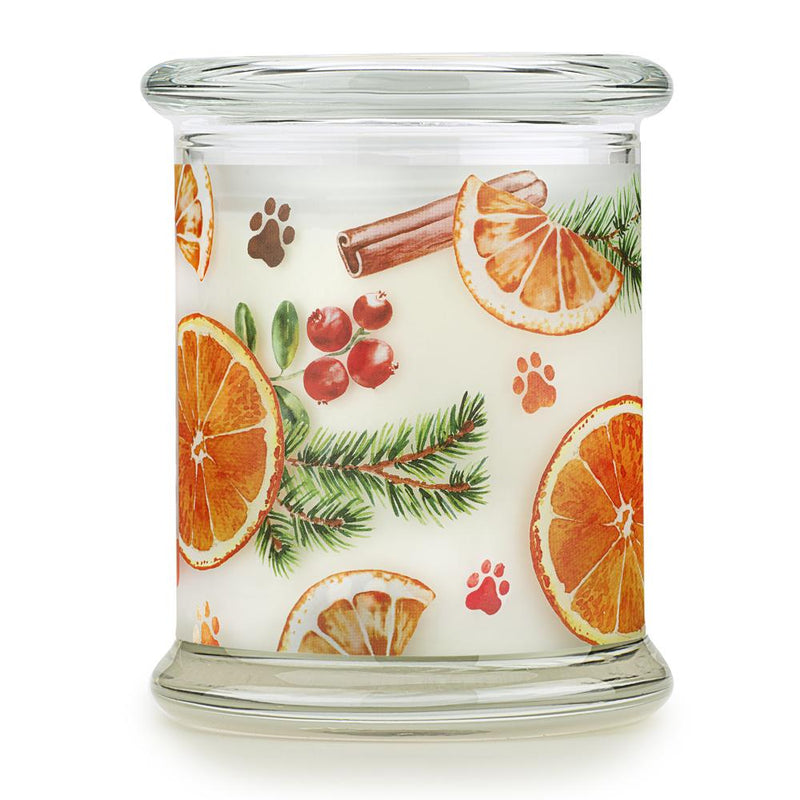 Pet House candles are hand-poured, and made from 100% natural, dye-free soy wax. Comes in an 8.5 oz. glass jar. Fragrance profile is a delightful blend of orange rind and lemon zest, with a hint of clove, nutmeg, cinnamon, and cedarwood. A warm and inviting scent that is perfect for the holiday season.