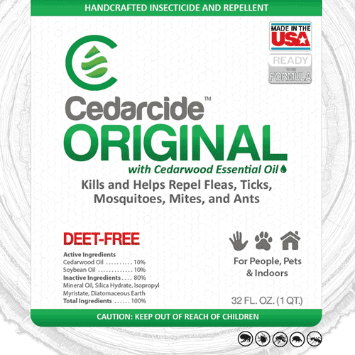 Cedarcide Original is a natural pest repellent that is safe for use indoors and on people and pets.