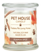 Pet House candles are hand-poured, and made from 100% natural, dye-free soy wax. Comes in an 8.5 oz. glass jar. Fragrance profile is a warm and spicy blend of pumpkin, cinnamon sugar, maple butter, and vanilla bean.