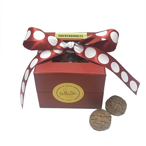 Adorable cookie box filled with mouth-watering Snickerdoodle treats your dog will love. Makes a great gift or holiday stocking stuffer. Cookies are handmade in small batches with organic ingredients. Made in the USA.
