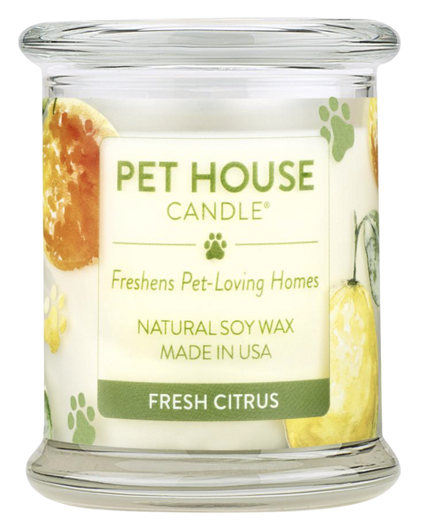 Pet House candles are hand-poured, and made from 100% natural, dye-free soy wax. Comes in an 8.5 oz. glass jar. Fragrance profile is a sparkling blend of fresh orange, lemon peel, and sweet vanilla sugar.