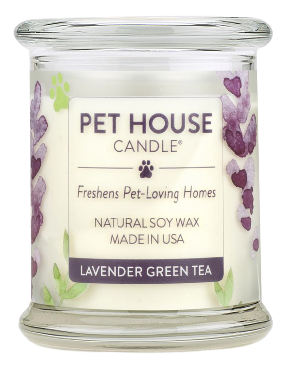 Pet House candles are hand-poured, and made from 100% natural, dye-free soy wax. Comes in an 8.5 oz. glass jar. Fragrance profile is a soothing aroma of French lavender, green tea, white lily, citrus, melon, and sage.