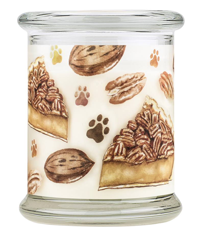 Pet House candles are hand-poured, and made from 100% natural, dye-free soy wax. Comes in an 8.5 oz. glass jar. Fragrance profile is a scrumptious blend of nutty pecans, sweet maple, toasted coconut, hint of vanilla, and buttery pie crust.