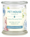 Pet House candles are hand-poured, and made from 100% natural, dye-free soy wax. Comes in an 8.5 oz. glass jar. Fragrance profile is a tranquil blend of floral accents, lemon, lime, and sweet amber musk.