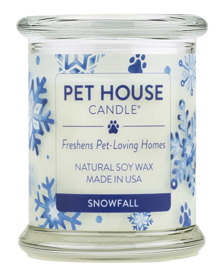 Pet House candles are hand-poured, and made from 100% natural, dye-free soy wax. Comes in an 8.5 oz. glass jar. Fragrance profile is a light winter blend of eucalyptus and spearmint, with notes of fir needles and sandalwood.