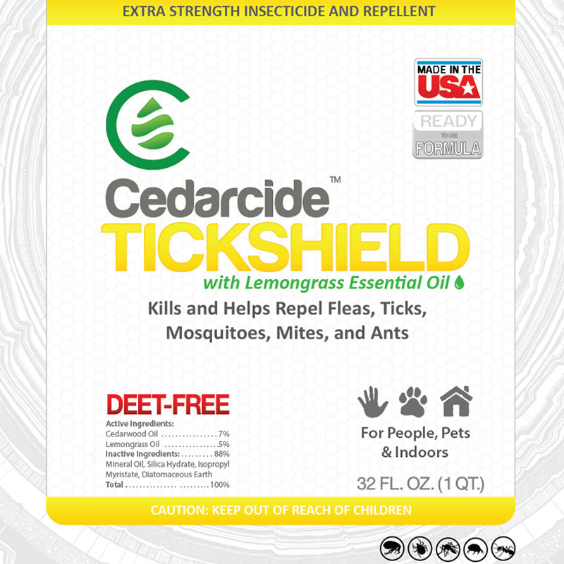 Cedarcide Tickshield with lemongrass is a natural pest repellent that is safe for use indoors and on people and larger pets.