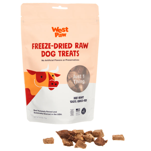 A single-ingredient freeze-dried raw treat from West Paw that is rich in CoQ10, a heart nourishing antioxidant. Treat is made from 100% American Certified Grass-fed Beef heart that is humanely-raised and sustainably sourced.