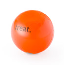 Treat ball is made from the award-winning Orbee-Tuff material, which is 100% recyclable and non-toxic. Ball is durable, bouncy, buoyant, and perfect for tossing, fetching, and bouncing. Toy is infused with natural mint oil.