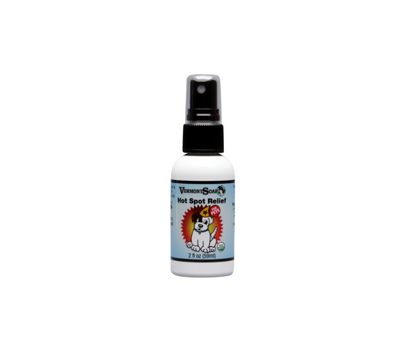 The Hot Spot Relief Spray from Vermont Soap is USDA Organic and safe for dogs and cats. Provides instant relief of redness, swelling, and itch common with hot spots.