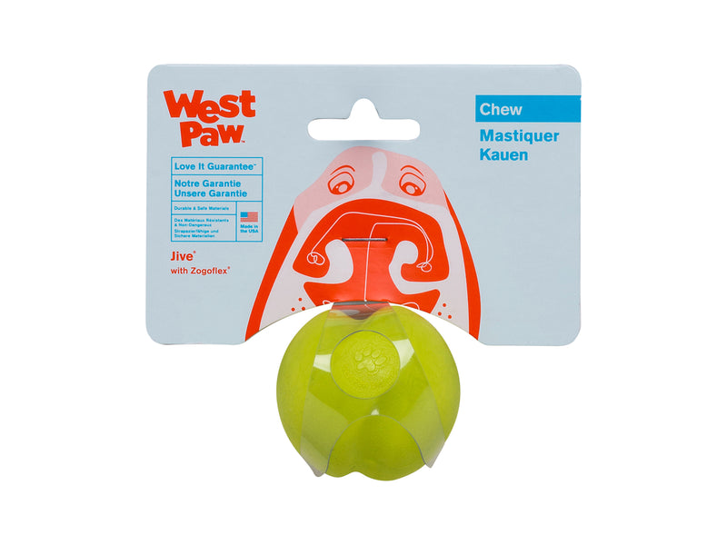 Jive is the toughest of all the West Paw Zogoflex toys. Its erratic bounce makes it fun to fetch and the bright colors make it easy to retrieve in any outdoor situation. The medium size Jive fits in a standard ball thrower.