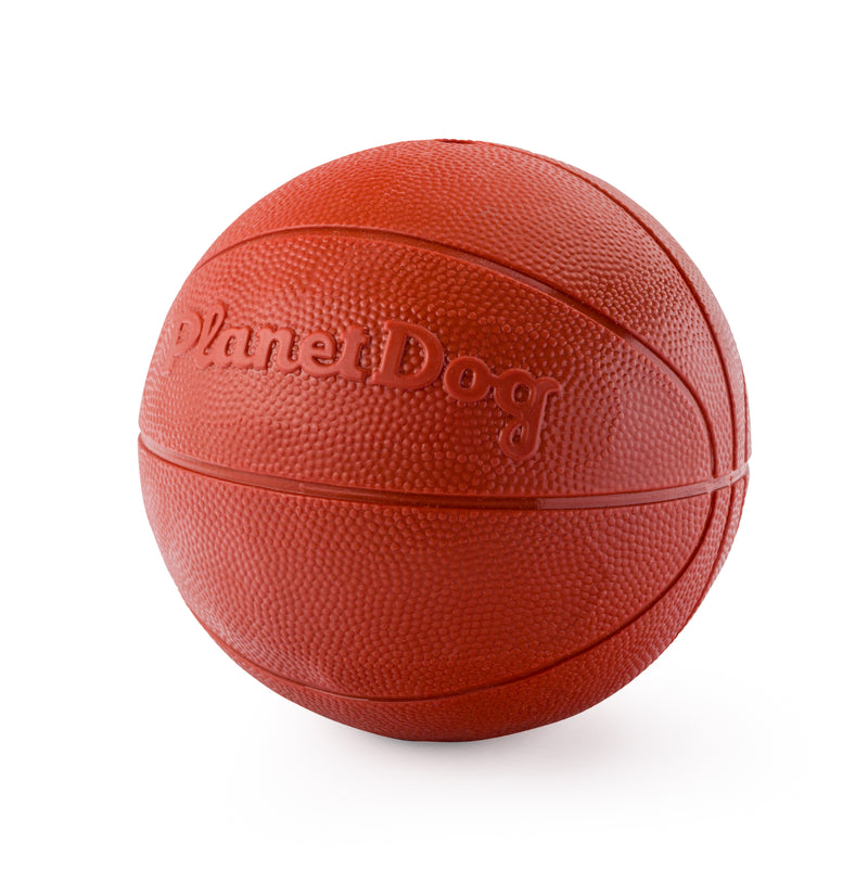 Your dog is sure to get caught traveling with this authentic basketball made from the award-winning Orbee-Tuff material, which is 100% recyclable and non-toxic. Ball is durable, bouncy, buoyant, and perfect for tossing, fetching, and bouncing. Excellent sized ball for large breed dogs.