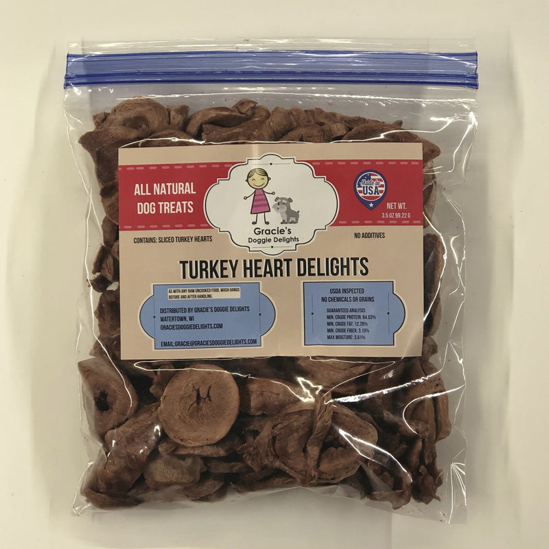 Gracie's Doggie Delights are 1-ingredient treats your pets will love. Made from USDA inspected meat that is sourced, made, and packaged in Watertown, WI. Treats are freeze-dried, no refrigeration needed.