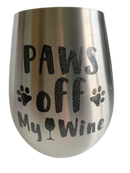 Stemless wine glasses with cute dog designs made with sparkly vinyl. Glasses have a sleek and elegant design, and are made from food-grade stainless steel. These heavy-duty glasses are shatterproof and have a weighted base, making them tip resistant.