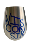 Stemless wine glasses with Wisconsin sports themed designs made with sparkly vinyl. Glasses have a sleek and elegant design, and are made from food-grade stainless steel. These heavy-duty glasses are shatterproof and have a weighted base, making them tip resistant.