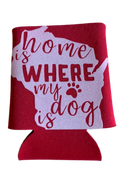 High-quality, brightly colored can koozies with cute dog designs made with sparkly vinyl.