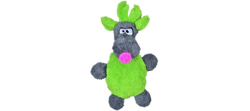 The Duraplush Reindeer dog toy makes a great stocking stuffer! This durable and soft dog toy is eco-friendly and made in the USA. It features a Duraplush 2-ply bonded outer material, Stitchguard internal seams, and eco-fill recycled filling. Toy does not contain an internal squeaker.
