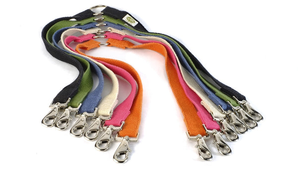 Brightly colored walking couplers by Earth Dog are made from 100% hemp webbing and high-quality snap hooks. Walking multiple well-behaved dogs has never been so easy! Couplers are durable and easy to clean.