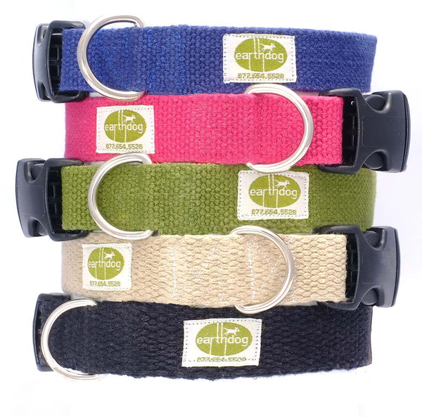 Brightly colored collars by Earth Dog are made from 100% hemp webbing. Hemp fibers have antimicrobial properties and are naturally hypoallergenic, making these collars perfect for everyday wear and for dogs with skin sensitivities and/or allergies. Collars are durable and easy to clean.