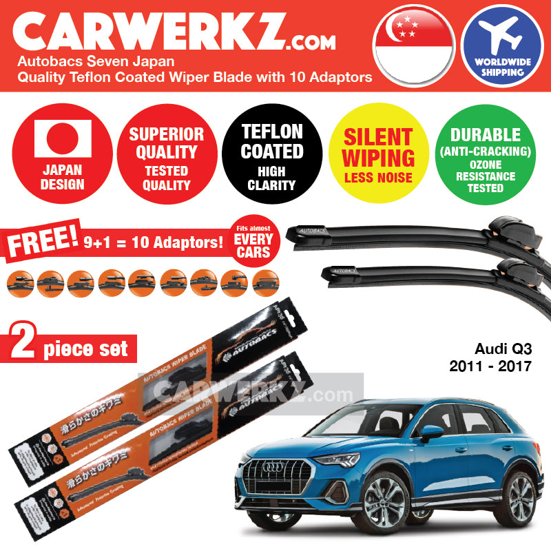 "Autobacs Seven Japan Teflon Coated Flex Aerodynamic Wiper Blade with 10 Adaptors for Audi Q3 2011-2017 (24""+21"") - CarWerkz"