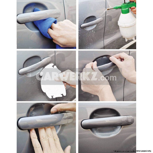 3M Door Handle Bowl Scratch Protector Film Decal 4 Pcs Clear - CarWerkz