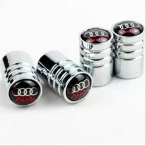 Audi Black Logo Valve Cap 4pc Chrome - CarWerkz