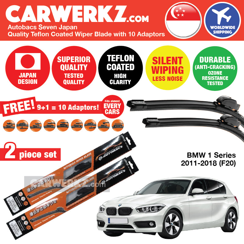 "Autobacs Seven Japan Teflon Coated Flex Aerodynamic Wiper Blade with 10 Adaptors for BMW 1 Series 2011-2018 F20 (22""+18"") - CarWerkz"