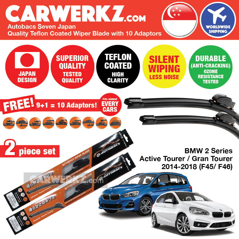 "Autobacs Seven Japan Teflon Coated Flex Aerodynamic Wiper Blade with 10 Adaptors for BMW Active / Gran Tourer 2014-2018 F45 F46 (26""+19"") - CarWerkz"