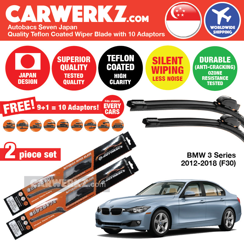"Autobacs Seven Japan Teflon Coated Flex Aerodynamic Wiper Blade with 10 Adaptors for BMW 3 Series 2012-2018 F30 (24""+19"") - CarWerkz"