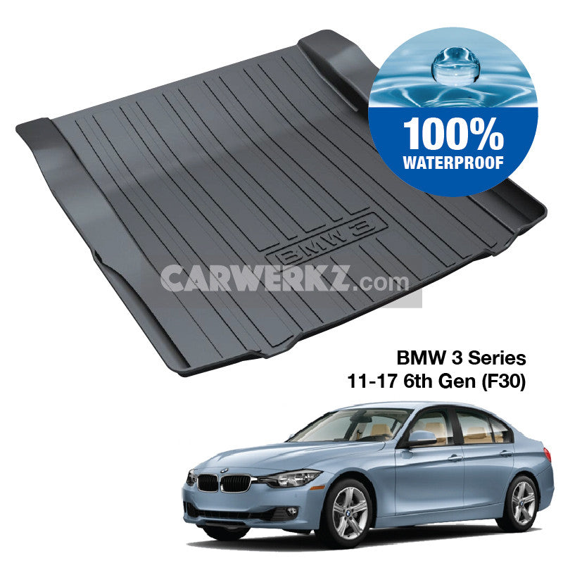 BMW 3 Series 2011-2019 6th Generation (F30) Customised Luxury Germany Sedan Car Trunk Perfect Moulded Ultra Durable TPO 3D Boot Tray - CarWerkz