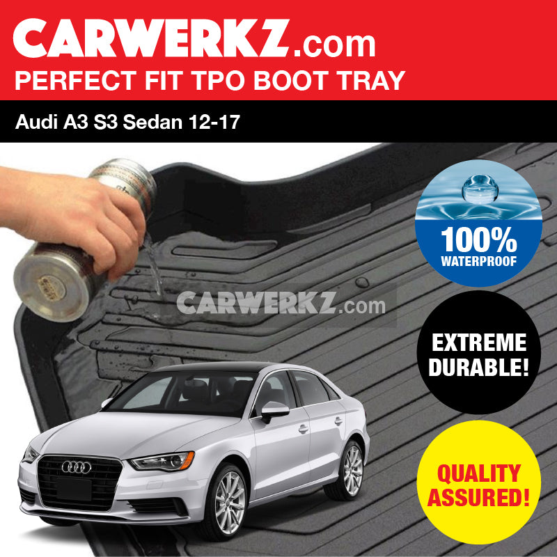 Audi A3 S3 Sedan 2012-2019 Ultra Durable TPO Boot Tray Bootliner - CarWerkz