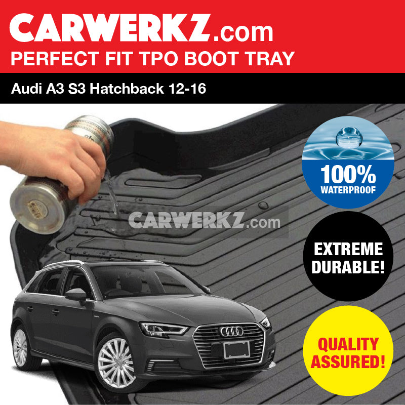 Audi A3 S3 Sportback 2013-2020 3rd Generation (8V) Germany Hatchback Car Trunk Perfect Moulded Ultra Durable TPO 3D Boot Tray - CarWerkz