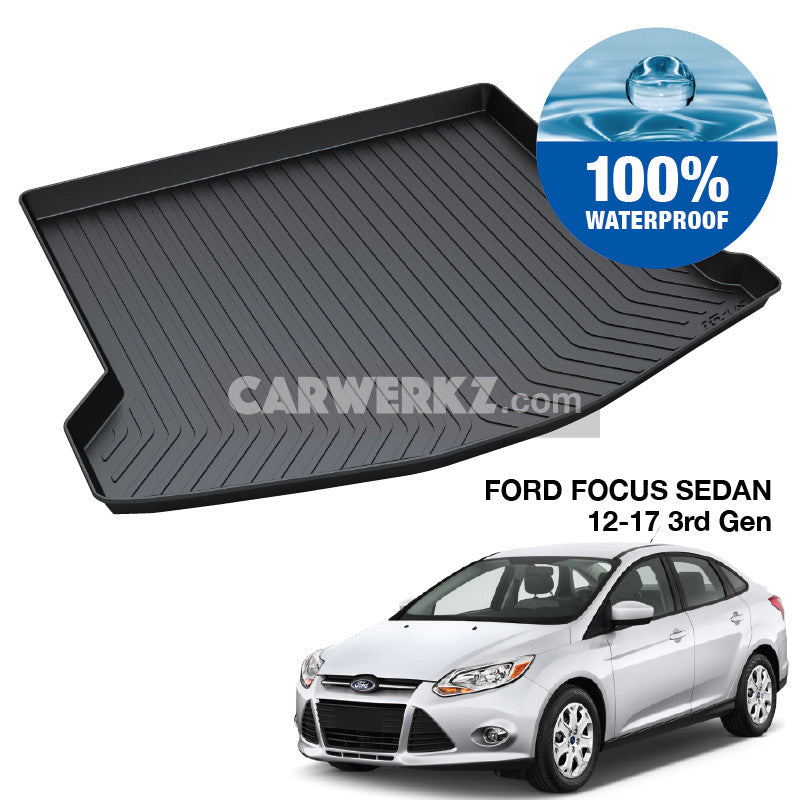 Ford Focus Sedan Mark 3 2011-2018 3rd Generation America Customised Car Trunk Perfect Moulded Ultra Durable TPO 3D Boot Tray - CarWerkz