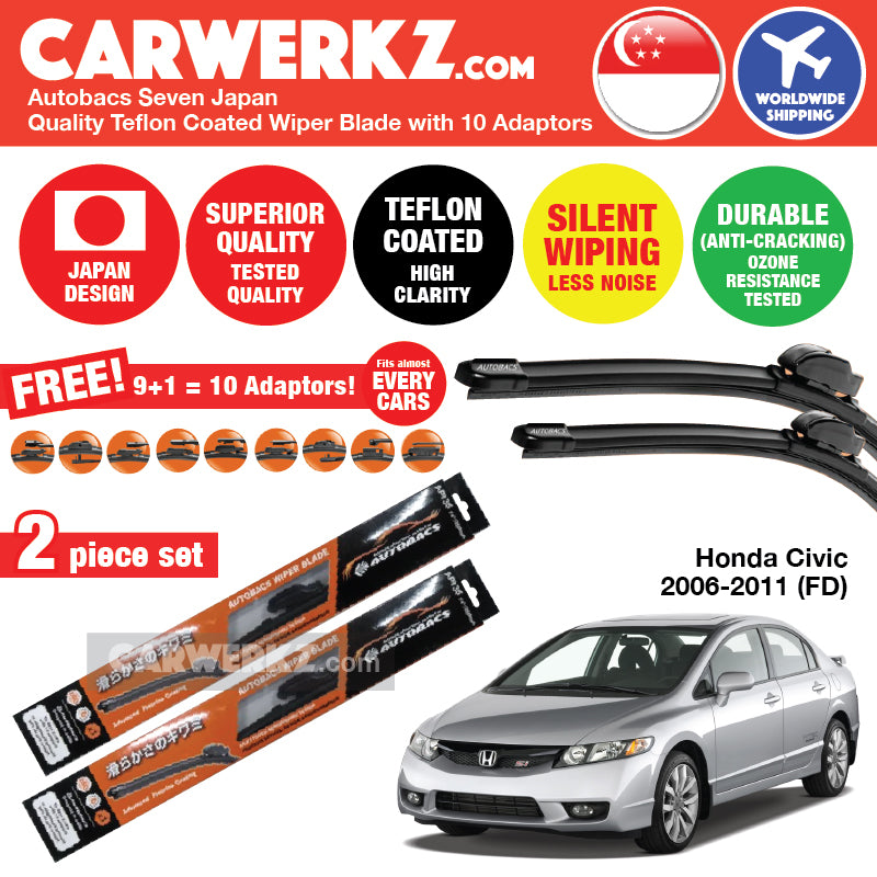 "Autobacs Seven Japan Teflon Coated Flex Aerodynamic Wiper Blade with 10 Adaptors for Honda Civic FD 2006-2011 (27""+23"") - CarWerkz"