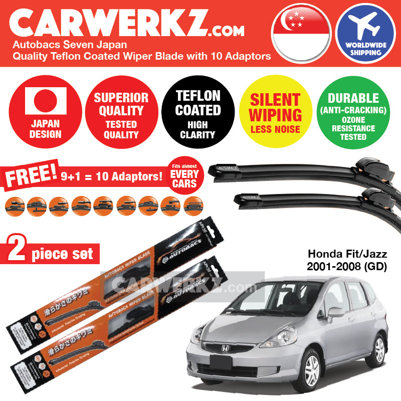Autobacs Seven Japan Teflon Coated Flex Aerodynamic Wiper Blade with 10 Adaptors for Honda Fit Jazz 2001-2008 1st Generation (GD) (24 inch +14 inch) - CarWerkz